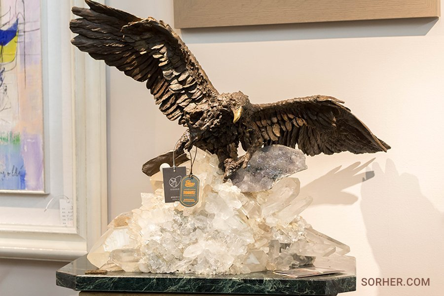 西班牙進口 老鷹水晶銅雕